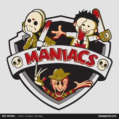 [ MANIACS! ] has just appeared on www.ShirtRater.com! Do you like this shirt? Come and rate it at http://www.shirtrater.com/maniacs/    #elm street #films #Freddy Krueger #friday the 13th #horror #horror movies #jason #killers #maniacs #murder #nightmare #nightmare on elm street #serial killers #shirt #t shirt #tees #texas chainsaw