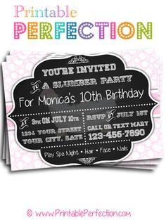 Misc Theme Invitation - Pink Spa Slumber Party