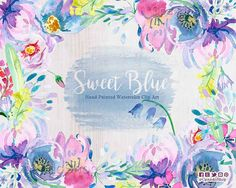 Sweet Blue floral watercolor clip art, perfect for watercolor wedding invitations, baby showers invites. Floral shabby chic clipart