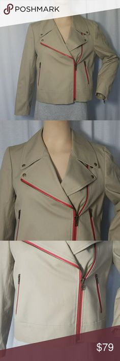"""J.Crew Beige Moto Jacket with red accentzippeSZ 10 Very stylish J.Crew moot style fabric jacket. Beige color with bright red accent zippers in front,  pockets and sleeves. Fully lined, excellent brand new condition with tag attached. I love this jacket is very stylish a and cool and goes with everything.  L 20 1/4"""" Sl 22 3/4"""" B 39 1/2"""" W 37 3/4"""" H 37 3/4"""" J. Crew Factory Jackets & Coats"""
