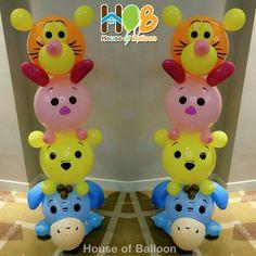 Tsum2 column #tiger #piglet #pooh #eeyore By @houseofballoon