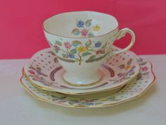 Vintage Foley Bone China Tea Cup Saucer & Plate Trio Set