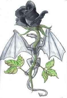 Black Rose and Silver Dragon by KurayamiNoKoneko.deviantart.com on @deviantART