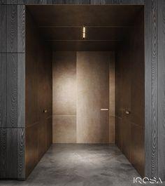 New luxury is a modern individuality, progressive design and functionality. Dark Interiors, Beautiful Interiors, Lobby Interior, Interior Architecture, Flush Doors, Bathroom Design Luxury, Entry Foyer, Home And Deco, Interior Design Studio
