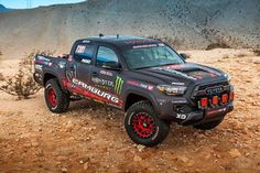The newest addition to Toyota?s TRD collection, the Tacoma TRD Pro Race Truck debuts as a key showpiece at TOYOTA?s booth at the 2016 Specialty Equipment Market Association (SEMA) Show Tacoma Pro, Toyota Tacoma Trd Pro, Toyota Usa, Tacoma Truck, Toyota Hilux, Toyota Trucks, Dodge Trucks, Toyota Tundra Accessories, General Tire