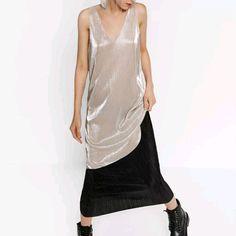 Zara Contrast Sparkly Sleeveless Maxi Pleated Dres
