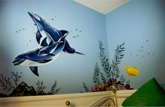Wall Murals, Custom Murals, Murals By Marie Kids Wall Murals, Mural Wall Art, Wall Stickers Room, Wall Decals, Ocean Drawing, Ocean Room, Fantasy Bedroom, Cartoon Wall, Wall Design