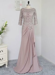 Plus Size Brown Mother Of The Bride Dresses A-line Sleeves Chiffon Lace Wedding Party Dress Mother Dresses For Wedding Hijab Gown, Hijab Dress Party, Turban Hijab, Kebaya Dress, Dress Pesta, Kebaya Lace, Kebaya Hijab, Kebaya Brokat, Muslimah Wedding Dress