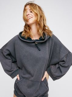 Maxed Out Hoodie | Cozy up in this super soft hoodie featuring an oversized, drapey fit and relaxed sleeve openings. Adjustable drawstring closure at the neckline. Athletic front pocket detail. Ribbed waistband and sleeve cuffs.