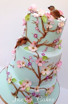 Vintage floral birthday cake by Izzy's Cakes (4/28/2013) View details here: http://cakesdecor.com/cakes/60643