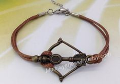 bronze bow and arrow bracelet#Hunger Games bracelet#mockingJay pin bracelets#leather bracelets#catching fire