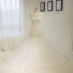 Long Sleeve Lace Appliques Mermaid Wedding Dresses White