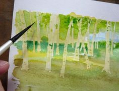 Vivian Swift Step by Step -- foreground trees, background washes, shadows and highlights.  Needs masking fluid.