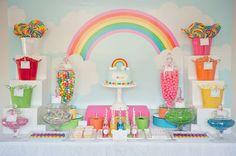 Rainbow party dessert table
