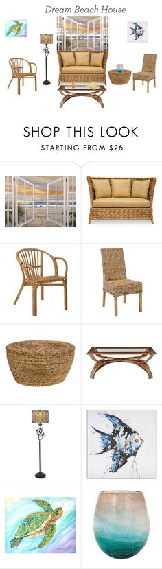 """Beach living room"" by jane-barnsfather ❤ liked on Polyvore featuring interior, interiors, interior design, home, home decor, interior decorating, Trademark Fine Art, Palecek, Safavieh and Kosas Home"