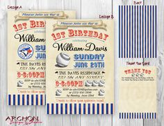Toronto Blue Jays Colors - Baseball Party Invitation with a Vintage Feel - Personalized - Digital - Printable by ArchonDesignStudio on Etsy www.archondesignstudio.com