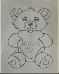 Teddy Bear Pencil Sketch are usually a classic work of art if you notice them. So several people give up on fantastic hobby without providing it a pro. Teddy Bear Drawing Easy, Teddy Bear Sketch, Cute Bear Drawings, Cool Art Drawings, Pencil Art Drawings, Art Drawings Sketches, Animal Drawings, Snoopy Drawing, Cartoon Girl Drawing