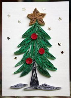 2014 quilling Christmas tree with berries and star - Christmas paper art #2014 #Christmas