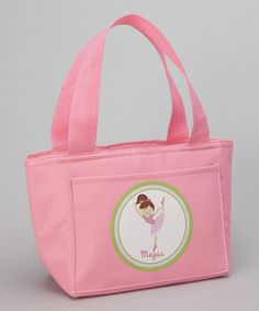 Look at this #zulilyfind! Pink Brown-Haired Ballerina Personalized Thermal Lunch Tote #zulilyfinds