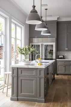 Classic Gray Kitchen Cabinet Paint Color.