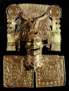 Breastplate representing the god of death, Mictlantecuhtli, from Tomb 7, Monte Alban, Mixtec, c.1300-1450  (gold)