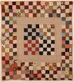 One Patch Medallion Crib Quilt: Circa 1890 Use small quilt piece Old Quilts, Mini Quilts, Antique Quilts, Scrappy Quilts, Small Quilts, Vintage Quilts, Crib Quilts, Antique Crib, Patchwork Quilting