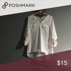 Long Sleeve White Dress Shirt Perfect for the office setting or casual dressy occasions.  White long sleeve dress shirt.  Sleeves can be buttoned up.  Size small.  100% polyester. Monteau Tops Blouses