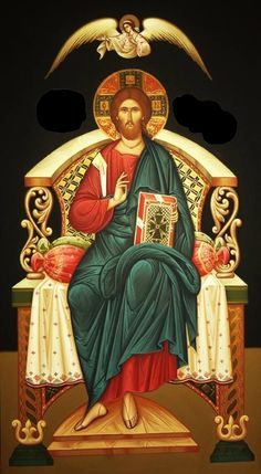 Christ Enthroned (on black), large icon Byzantine Icons, Byzantine Art, Religious Icons, Religious Art, Religion, Christus Pantokrator, Images Of Christ, Jesus Christus, Christ The King