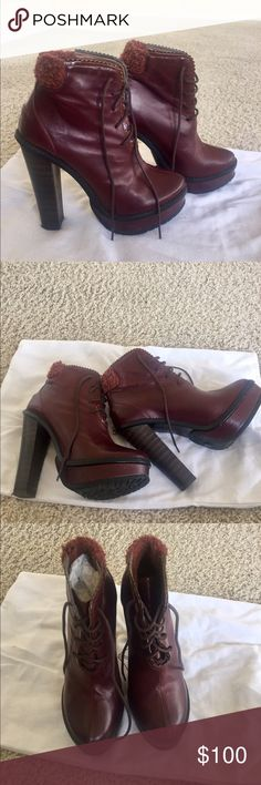 Opening ceremony boots Beautiful cherry color, high heels but very comfortable, good condition Opening Ceremony Shoes Ankle Boots & Booties
