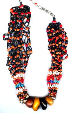 Berber necklace , amber, coral and glass beads Morocco early 20th c (archives sold Singkiang)