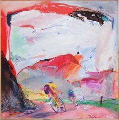 © Artist: Jan van Diemen, Snelheid in rood 140cm x 140cm see at SilleKunst.nl
