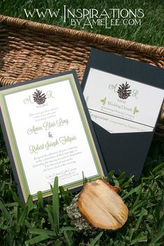 pocket card in charcoal gray for a Lake Tahoe Wedding