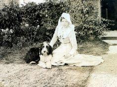 Bearded Collie Edwardian Lady and Dog