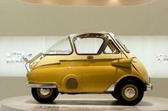 """sailor-boy-rocky: """" A Real Poppet……….mmmmm """" BMW Isetta in yellow. This may be the cutest mini car ever. Bmw Isetta, Scooters Vespa, 3 Bmw, Bmw E9, Peugeot, Lambretta, Automobile, Microcar, Bmw Classic Cars"""