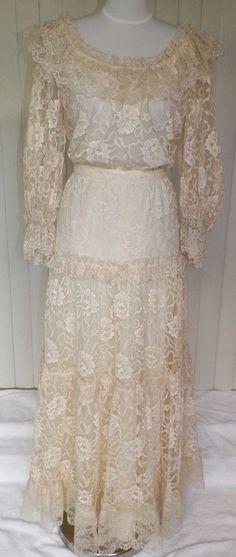 1970s Two-Piece Victorian/Edwardian Style Ivory Wedding Dress by Janesca Capri.