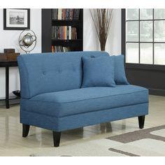 Portfolio Engle Caribbean Blue Linen Armless Loveseat - Overstock™ Shopping - Great Deals on PORTFOLIO Sofas & Loveseats
