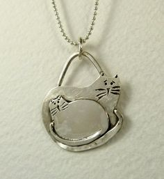 Cats Abby And Santana Snuggle - Up Cycled Sterling - Cats - Strength - Empowerment - Echo Friendly - Cat Pendant - 1810