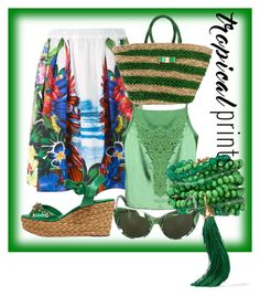 """""""LUSH"""" by maria-isabel-dolon-insame ❤ liked on Polyvore featuring Dsquared2, Dolce&Gabbana, Valentino, Rosantica, tropicalprints and hottropics"""