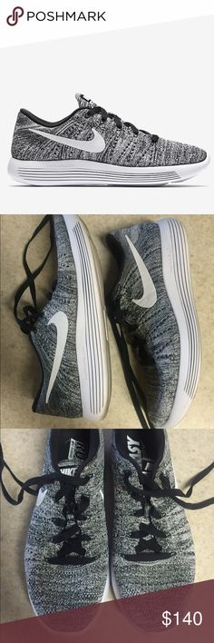Nike Lunarepic Low Flyknit size 8.5 Worn once! Color is Oreo. Great  condition. eff60616dd4fa