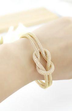 Gold Double Layers Twine Bracelet  #Sheinside