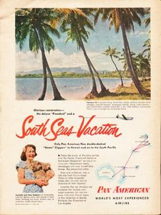 """Description: 1953 PAN AMERICAN AIRLINE vintage magazine advertisement """"South Seas Vacation"""" -- Fabulous Fiji is breath-taking ... Glamorous Tahiti is just overnight ... Glorious combination -- the deluxe """"President"""" and a South Seas Vacation ... Only Pan American flies double-decked """"Strato"""" Clippers to Hawaii and on to the South Pacific ... Australia and New Zealand are hospitable, colorful ... Pan American - World's Most Experienced Airline -- Size: The dimensions of the full-page ..."""