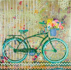 """Chevron Bike"" 40x40 mixed media Available at Atelier Gallery 843-722-5668"