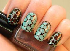 Pinked Polish: Shift Happens. Giraffe / turtle pattern stamping nail art