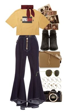"""""""Untitled #9757"""" by nikka-phillips ❤ liked on Polyvore featuring ASOS Curve, Nikon, Yves Saint Laurent, E L L E R Y, Ray-Ban and Chloé"""