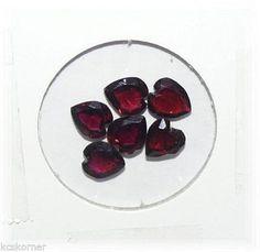 NOS 6 Rhodolite Faceted Garnet Hearts Gemstones 9.5mm