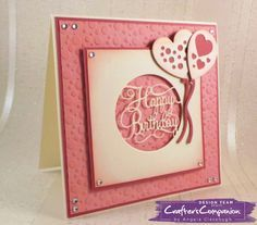 6 x 6 Card made using Sara Signature Birthday Party Collection -  Designed by Angela Clerehugh #crafterscompanion