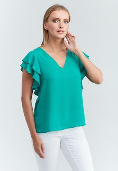This beautiful v-neck silhouette, styled with a flattering tiered ruffled sleeves to complete your ready to go outfits. Fabric polyester crepe de chine True to size Made in USA of imported material Washable, dry clean recommended Spring Summer 2018, Ruffle Sleeve, Ruffles, Long Sleeve Tops, Shop Now, V Neck, Window Shopping, Sleeves, Sweaters