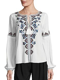 Parker Perry Floral Embroidered Blouse