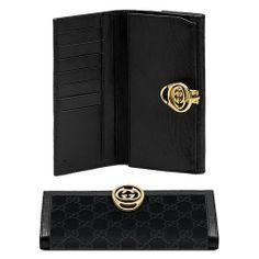 Gucci Continentale Portafoglio Con Blocco Dettaglio G Nero 22422 GI590