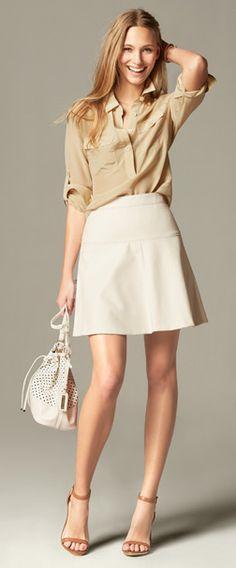 latte Silk Utility Blouse, ivory Fluted Skirt, white Dalia Bucket bag and natural Emalee ankle strap heeled Sandal | Banana Republic